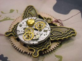 steampunk clock butterfly pin by TimelessCharm