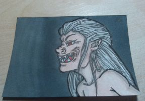 ArtistTradingCard: Dog the werewolf munching time! by Inky-Doodle