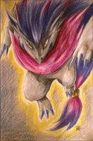Shiny Zoroark, Tetra - colored pencil and pen by HarmoniousReprise