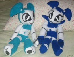 Normal and Retro Jenny plushes by teenagerobotfan777
