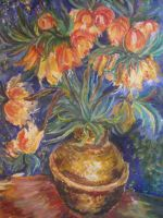 A copy of a painting by Vincent Van Gogh Flowers i by Mizecki
