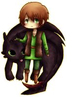 Hiccup and Toothless Chibi by Cooro-kun