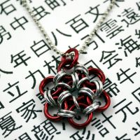 Shiny Red Japanese Flower Pendant by Utopia-Armoury