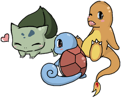 Kanto Starters by graffiti-blaze