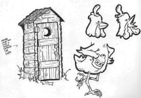 Chicken and Outhouse by kennypick