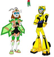 Jady and Bee under Mistletoe by AleximusPrime