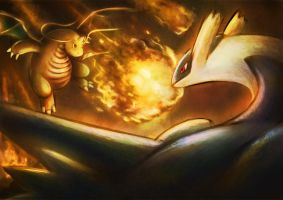 Pokemon Battle! Dragonite VS Latios by Moozika