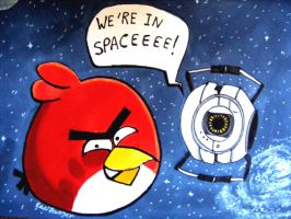 Angry Birds meets Portal by RaelXArts