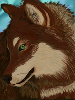Red Agouti hooded timber wolf by Be-Lyle