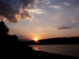Sunset on Lipno Lake by Andenne
