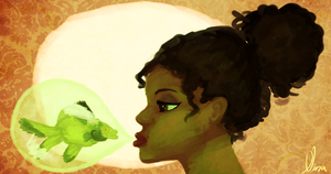 The Girl and The Green Goldfish by ninated