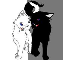 Lightpaw and Darkpaw by demonstardust