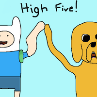 High five with Finn and Jake by DemonAngelBaby
