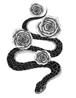 Commission - Snakes and Roses (Tattoo) by gaarapandachan