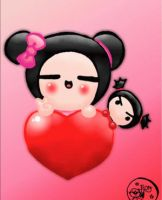 little Gif, Pucca and her doll by FlopyLopez
