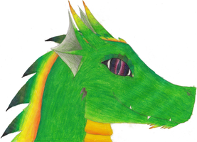 Dragon Head: green: colored !!For Adoption!! by Leopardenschweif