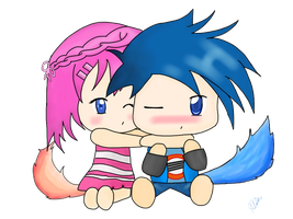 Drawing of OC chibis hugging by Mainecare