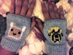 Finn and Jake Fingerless gloves by Sugarcoatidli3z