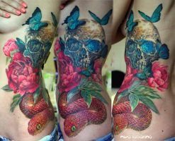 skull, snake and peonies tattoo by NikaSamarina