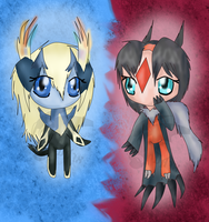 Xerneas and Yveltal Gijinkas by DragonA7X