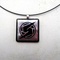 Metroid Samus Silver Fused Glass Necklace Pendant by FusedElegance
