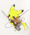 Pikachu x Attack on Titan by DrkCirius