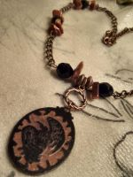 Dancing Raven Dancing Crow- copper necklace by Destinyfall