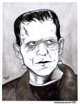 Frankenstein's Monster Inkwash Portrait by JesseAcosta