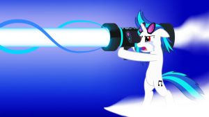 Vinyl Scratch Return Attack - Wallpaper - White by SDC2012