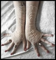 Wheat Lace Fingerless Gloves by ZenAndCoffee