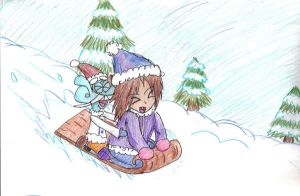 Mung and Kiley go sleigh ridin by little-ampharos