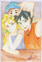 Percy jackson,Annabeth chase and Grover underwood by keishapj