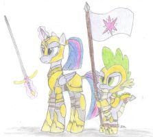Twilight and Spike preparing for battle (RQ # 3) by BrogarArts