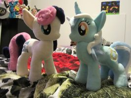 My little pony Bon Bon and Lyra plush (Commission) by Little-Broy-Peep