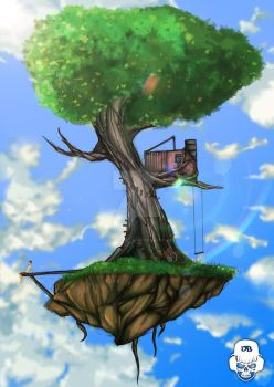 SKY ISLAND TREE Painting Version by DYING-BREED-94