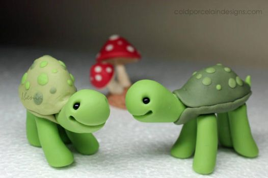 Turtle Love - cold porcelain by i-be-c