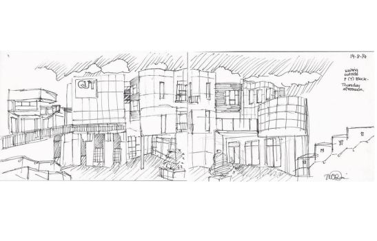 Waiting for class (panorama sketch) by madelinebyrne