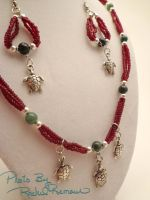 Red and Green Turtle Set 64 by TheSortedBead