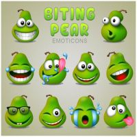 Biting Pear Emoticons by CrazEriC