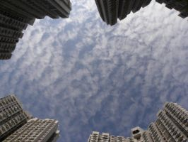 The sky between 4 buildings by RiverKpocc