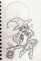 Halloween witch Sketch by kaiomutaru25