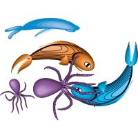 fish and crab water animal by cgvector