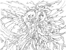 Old Lineart- Aria and Sulfura by Keiteki