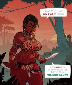 Sheva Alomar RE - Vicious Scum - Cartoon PinUp by HugoTendaz