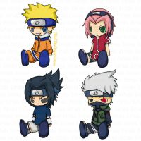 Naruto: Team 7 Plushies by Katheh