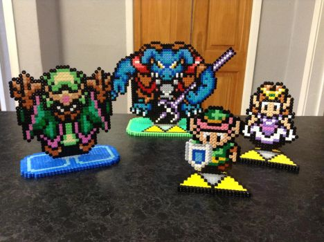 Commision: A Link to the Past- Hama Bead Stands by Dogtorwho