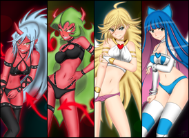 Panty and Stocking with Scanty and Kneesocks by jetfree730