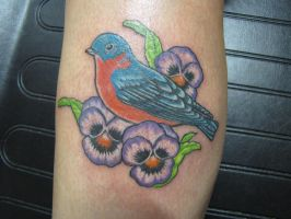 Bluebird and Pansies by Shipht