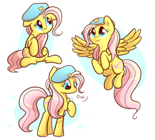 Fluttershy with A Beret by Ranoutofideas
