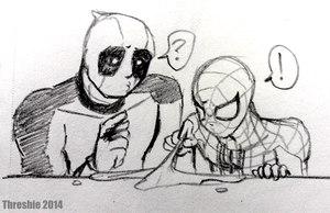 Spidey and Deadpool Do Science! by Threshie